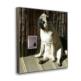 Wireless door chime with sweet Pug as wireless front door bell stainless steel V2A
