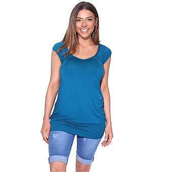 KRISP  KRISP Ladies Low Cut Plain Hip Long Line Top T Shirt Tunic Summer Holiday 7604