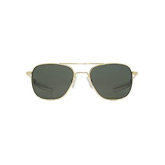 Randolph Engineering Square Pilot Sunglasses In 23K Gold AGX Green