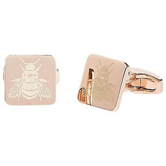 Simon Carter Laser Engraved Bee Cufflinks - Rose Gold