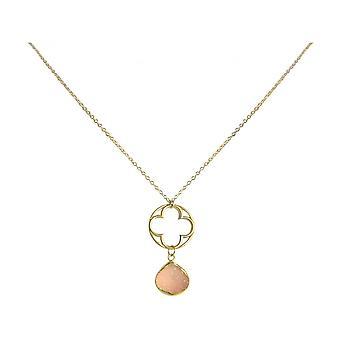 Ladies - necklace - pendants - CLOVER - 925 Silver - gold plated-- DRUZY - Rose Quartz - 45 cm