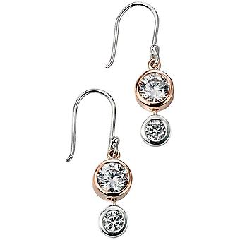 Elements Silver Cosmic Mixed Plate Cubic Zirconia Drop Earrings - Silver/Rose Gold