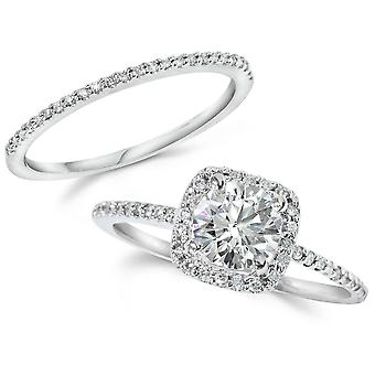 1CT Diamond Engagement Ring kussen Halo trouwring Set 14K White Gold