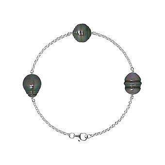 Bracelet 3 Perles de Tahiti Cerclées 9 mm en Argent 925/1000