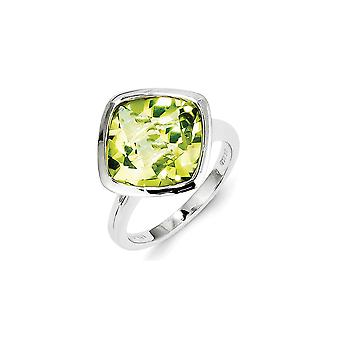 Sterling Zilver gepolijst Open back Rhodium-plated Lemon Quartz Ring - Ringmaat: 6 tot en met 9