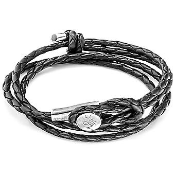 Anchor and Crew Dundee Silver and Leather Bracelet - Coal Black