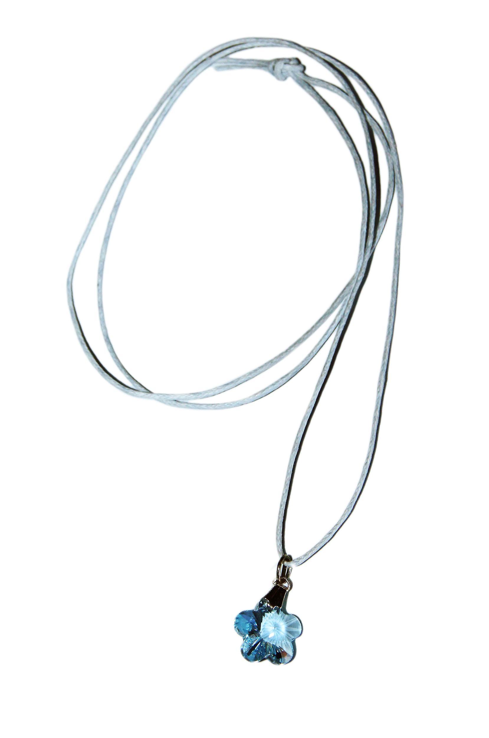 Waooh - Bijoux - Swarovski / Pendentif fleur bleu et cordon ciré
