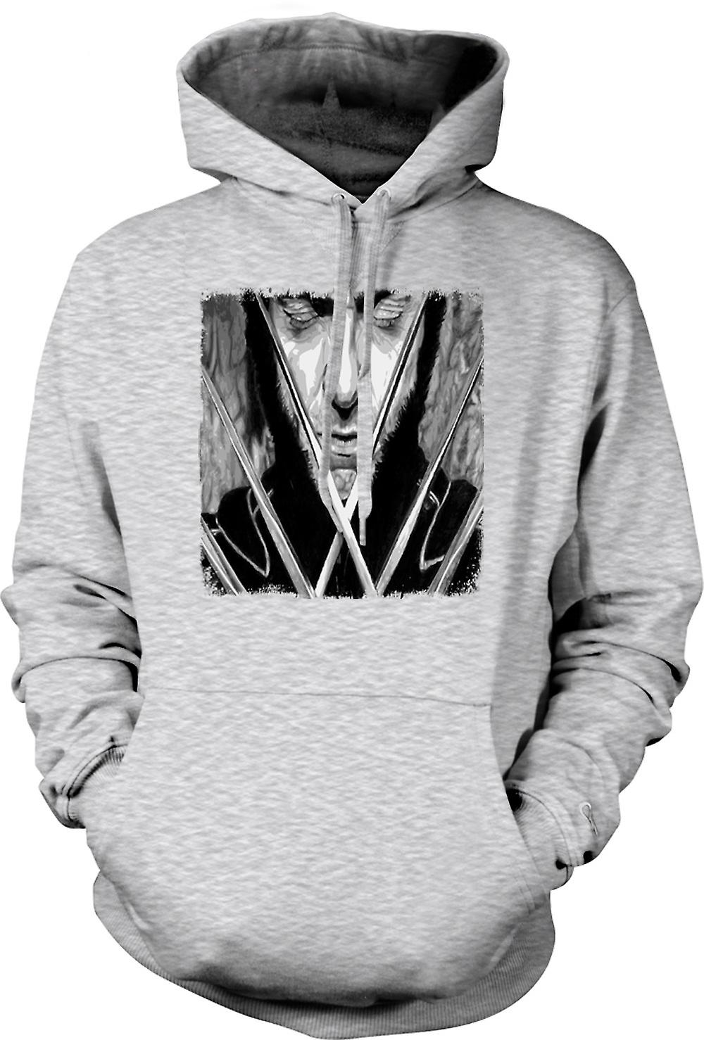 Mens Hoodie - X Men Wolverine - BW - Pop Art
