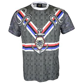 Cavalli Class Jersey Stretch King Lion Vertical Lines Grey/multicoloured T-shirt
