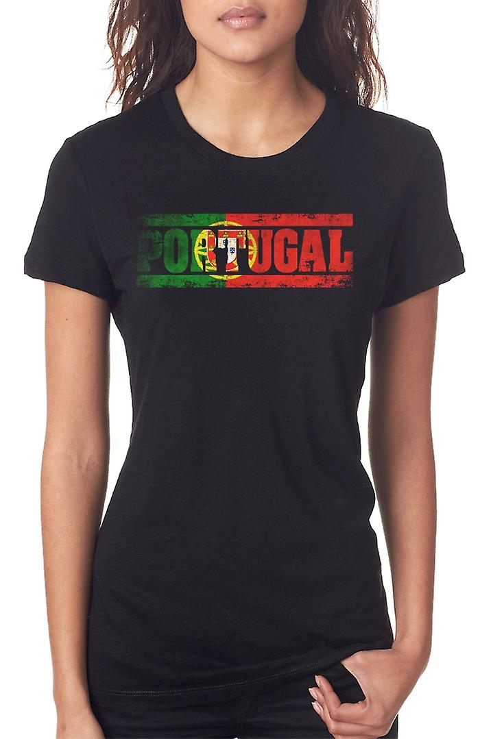 Portuguese Portugal Flag - Words Ladies T Shirt