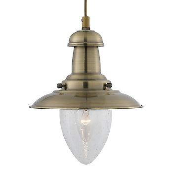 Searchlight 5787AB Fisherman Antique Brass Single Pendant Light