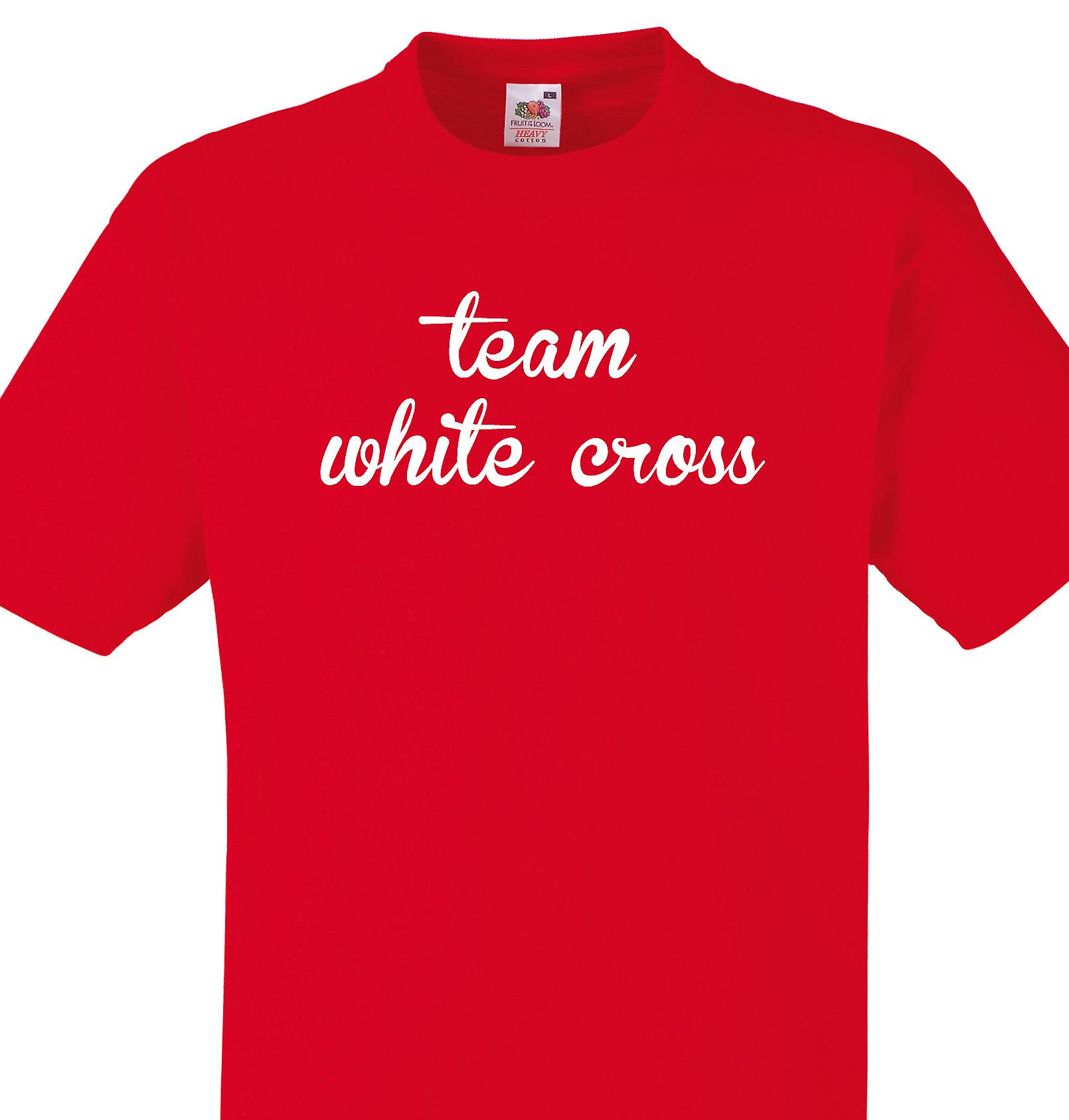 Team White cross Red T shirt