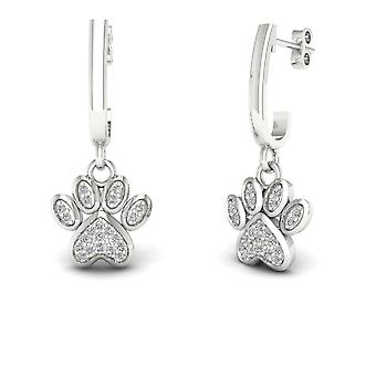 IGI Certified Genuine 10k White Gold 0.10 Ct Diamond Fashion Dog Paw Earrings