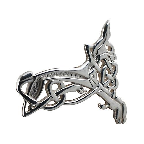 Silver 20x35mm Celtic Animal brooch
