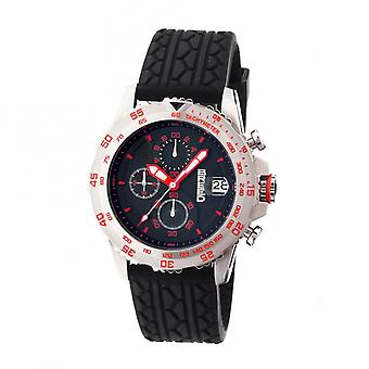 Breed Socrates Chronograph Men's Watch w/ Date-Silver/Red
