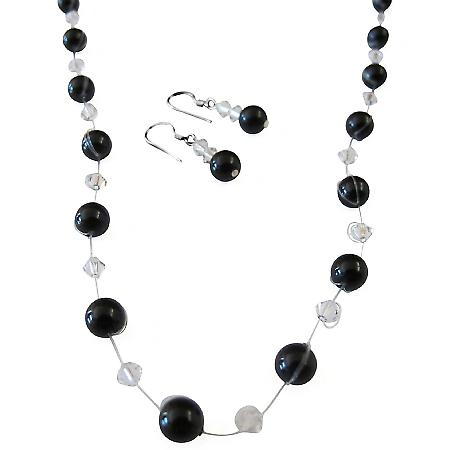 Latest Fashion Jewelry Black Pearls & Clear Crystals Bridesmaid Gifts