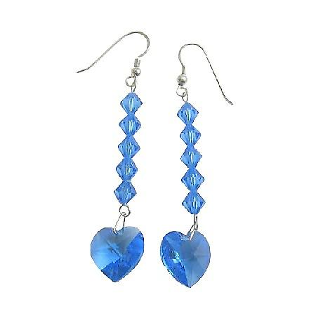 Swarovski Crystal Heart Lite Sapphire Crystal Beads Dangling Earrings