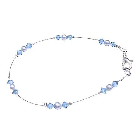 Aquamarine Crystal Jewelry Bridesmaid Flower Girl Blue Pearls Bracelet