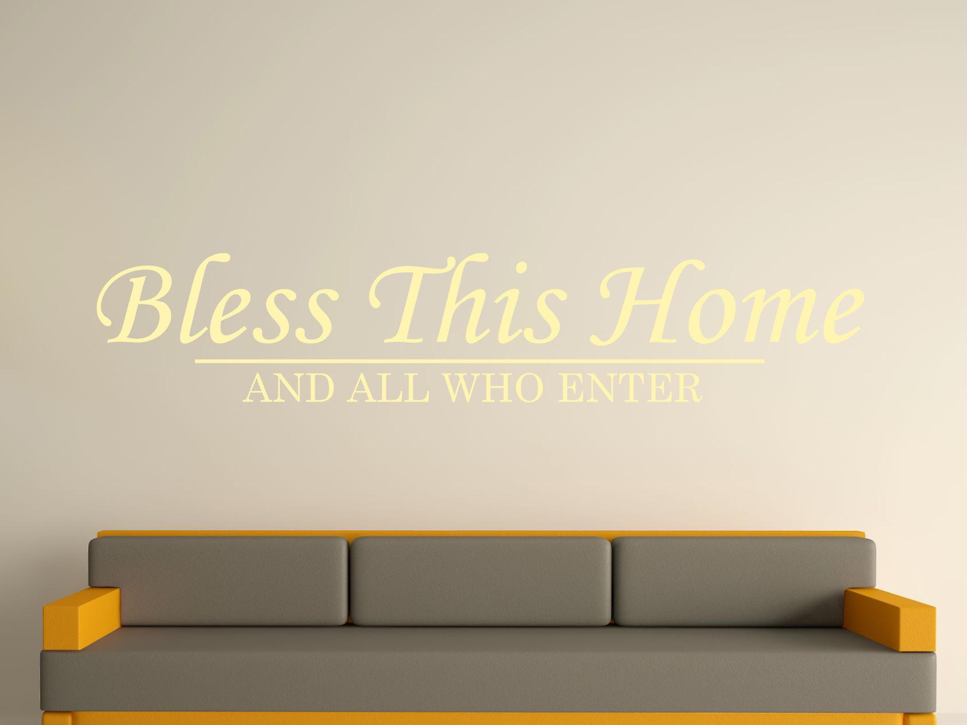 Bless This Home Wall Art Sticker - Beige