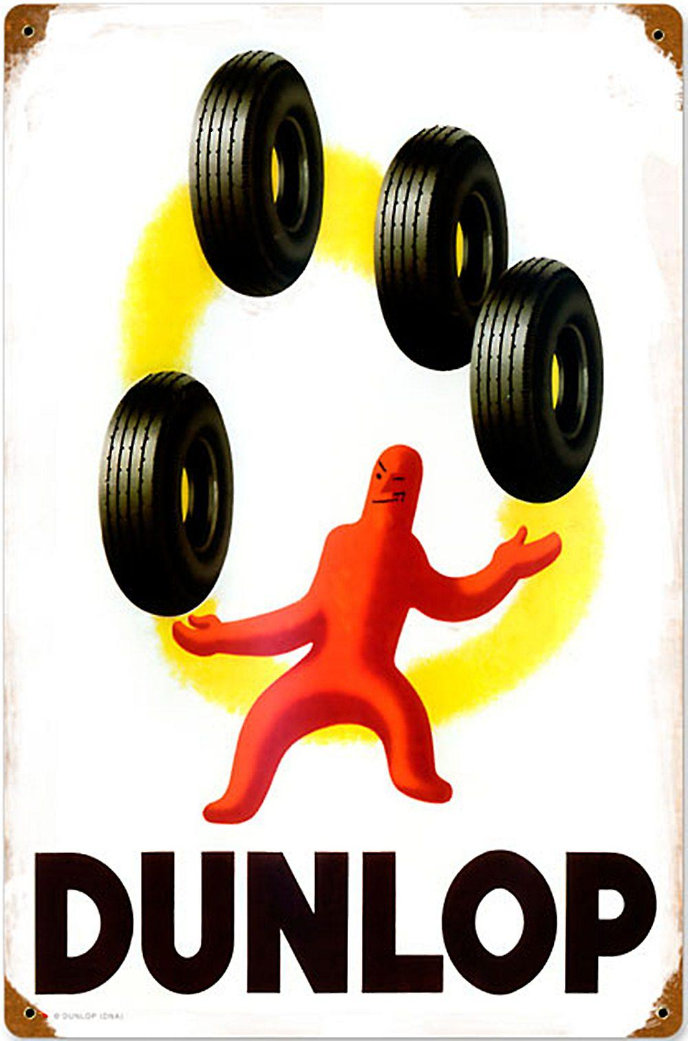 Dunlop Juggling rusted steel sign  (pst 1812)