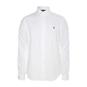 قميص رالف لورين الأبيض القطن