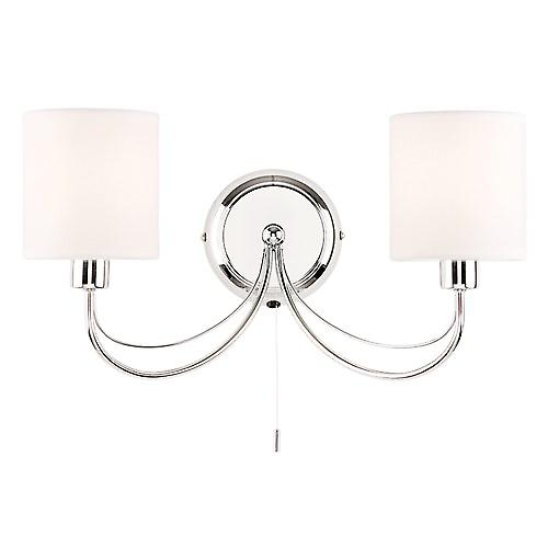 Endon PHANTOM-2WBCH Phantom Modern Elegant Swiched Wall Light With White Shades