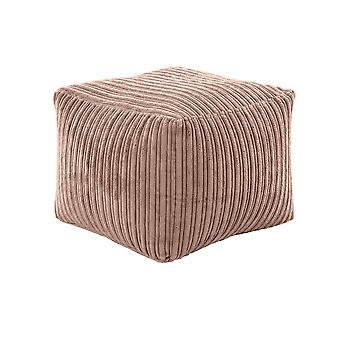Mocha Square Bean Bag Footstool Pouffe Seat in Soft Jumbo Cord Fabric