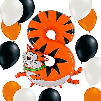Animaloons figuur 8 Cat + 12 latex ballonnen