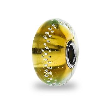 Trollbeads Gold Silver Trace sølv & glass perle TGLBE-20058