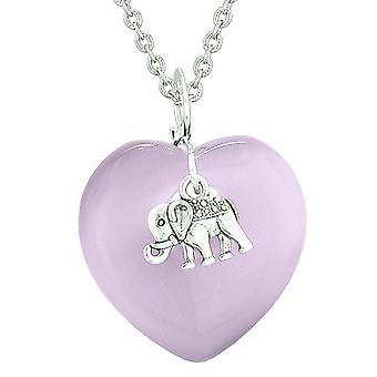Lucky Elephant Charm Amulet Puffy Magic Powers Heart Purple Simulated Cats Eye Pendant 18 inch Necklace