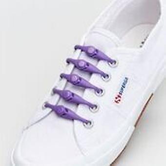 1 Packung mit 10 Hickies Kinder Ersatz Schnürsenkel für schnelles Slip-on - Mystic Purple
