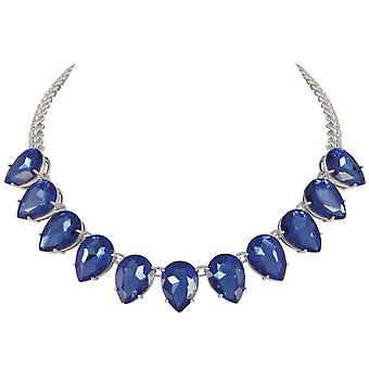 Eternal Collection Seduction Teardrop Sapphire Blue Crystal Silver Tone Fashion Necklace