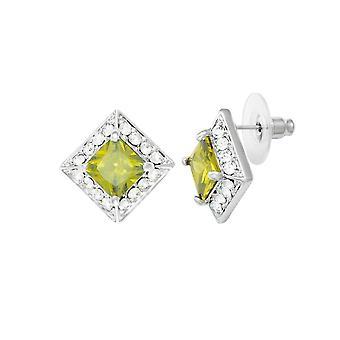 Evige samling pragt Peridot krystal & Diamante sølv Tone Stud gennemboret øreringe