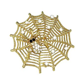 Eternal Collection Delilah The Spider Crystal And Gold Tone Spider's Web Brooch