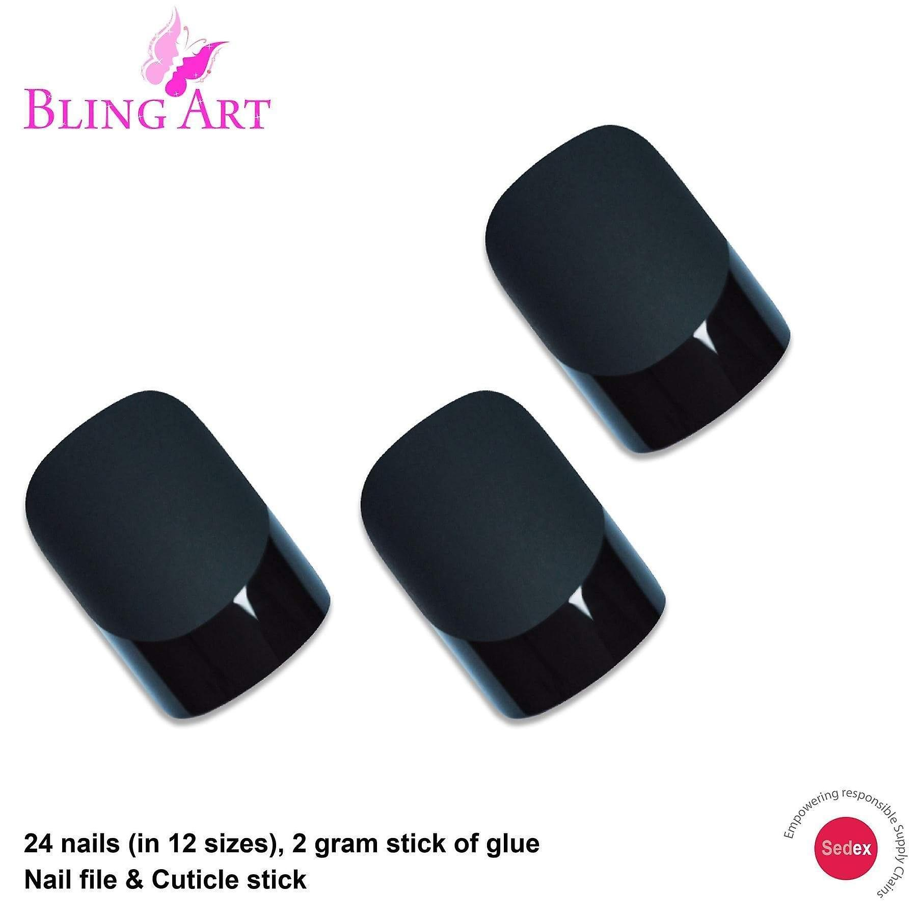 False nails by bling art black matte french manicure fake medium tips with glue