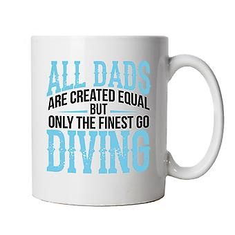 Finest Dads Go Diving Water Sport Mug | Swimming Surfing Windsurfing Scuba Snorkel Diving | Ideal Top Best Special No1 Father Husband Grandad | Fathers Day Cup Gift