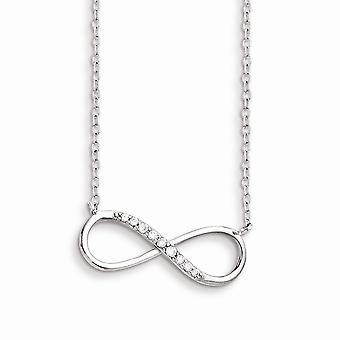 925 Sterling Argent Poli Fancy Lobster Fermeture Avec Cubic Zirconia Infinity Symbol With 2 In Ext Necklace - 16 pouces
