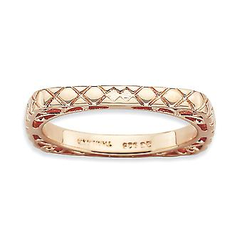 2.25mm 925 Sterling Silver Patterned Stackable Expressions Polished Pink-plate Square Ring - Ring Size: 7 to 10