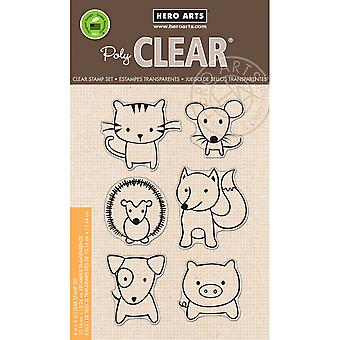 Hero Arts Clear Stamps 4 « X 6 » feuille-ludique animaux HA-CL832