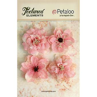 Textured Elements Burlap Blossoms 4 Pkg Pink P1200 211
