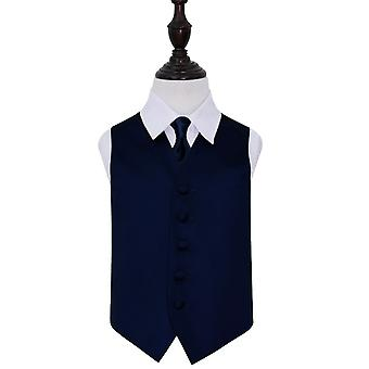 Boy's Navy Blue Plain Satin Wedding Waistcoat & Tie Set