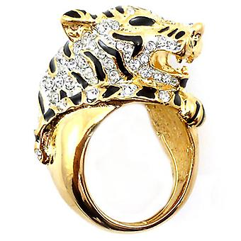 Kenneth Jay Lane Crystal Tiger Head Ring