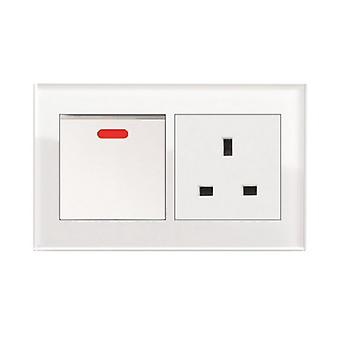 I LumoS AS Luxury White Crystal Glass Double 20A Switch with Unswitched 13A UK Socket