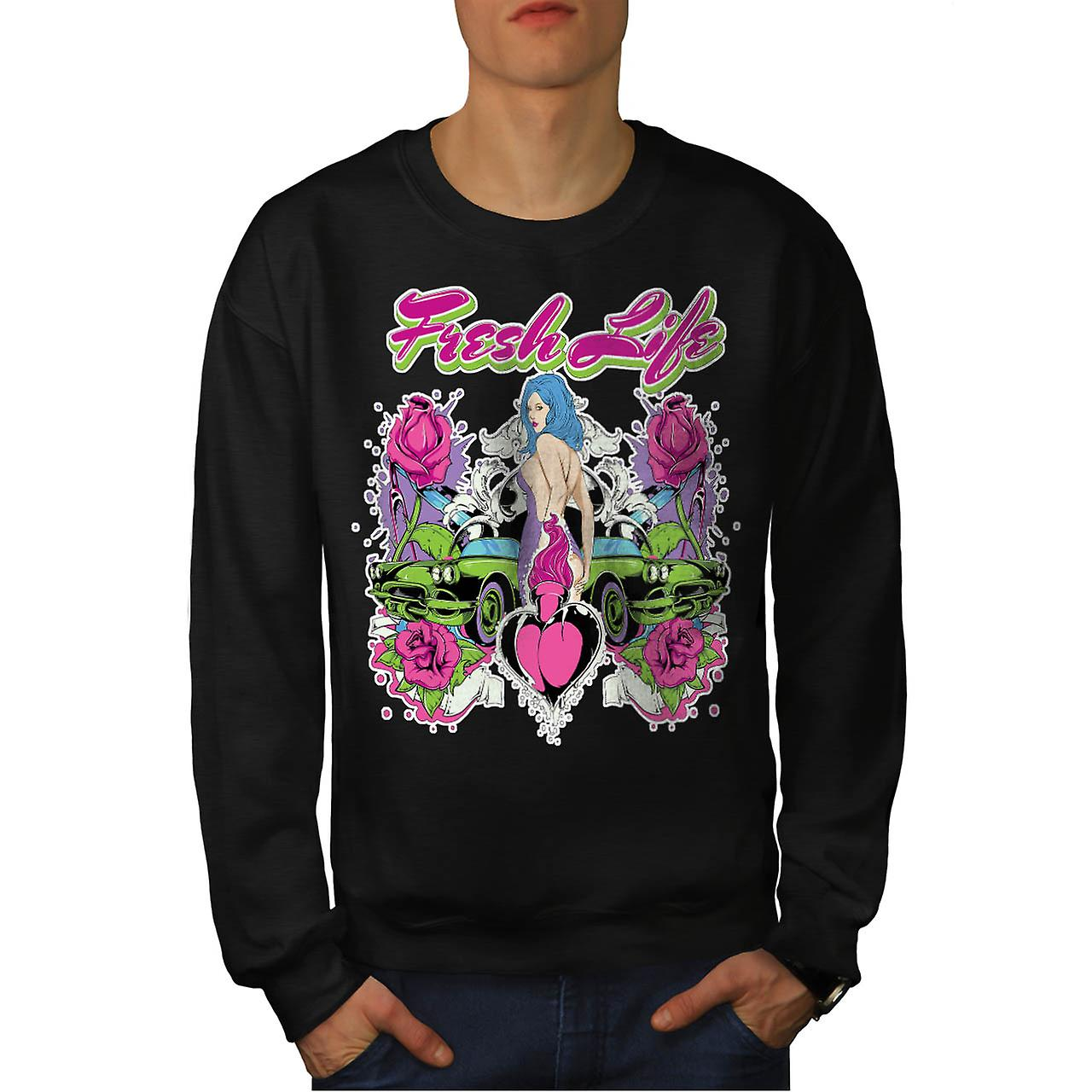 Fresh Life Vintage Car Men Black Sweatshirt | Wellcoda