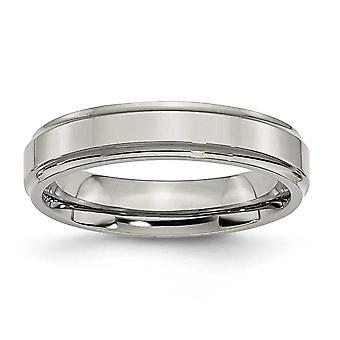 Titan Schlossdrücker zerfurcht-Rand 5mm poliert Bandring - Ring-Größe: 5 bis 13