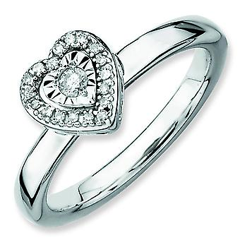 Sterling Silver Stackable Expressions Heart Diamond Ring - Ring Size: 5 to 10