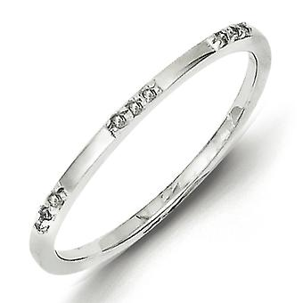 Sterling Silver Rhodium Plated Diamond Ring - Ring Size: 6 to 8