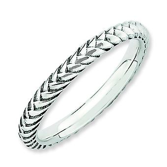 2.5mm Sterling Silver Stackable Expressions Antiqued Ring - Ring Size: 5 to 10