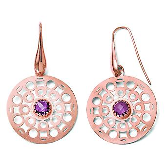 Sterling Silver Satin Dangle Polished Shepherd hook and Rose Gold-Flashed With Amethyst Earrings
