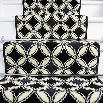 50cm Width - Contemporary Black Geometric Stair Carpet